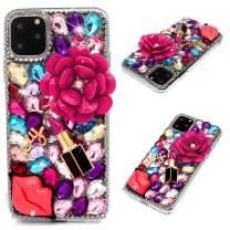 iPhone 11 Pro Max Case, Mavis's Diary 3D Handmade Bling Crystal Hot Pink Flower Sexy Lips Lipstick Colorful Shiny Glitter Sparkly Diamond Rhinestone Sliver Rivet Hard PC Full Edge Cover, Sexy Lips