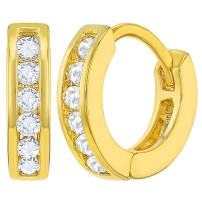 """Small Hoop Earrings for Children's Kids Toddlers Clear CZ 0.39"""""""