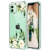 """Hepix iPhone 11 Case White Rose iPhone 11 Flowers Cases, Floral Clear 11 Phone Cases with Protective Bumpers, Slim Lightweight Flexible TPU Frame Anti-Scratch Shock Absorbing for iPhone 11 (6.1"""")"""