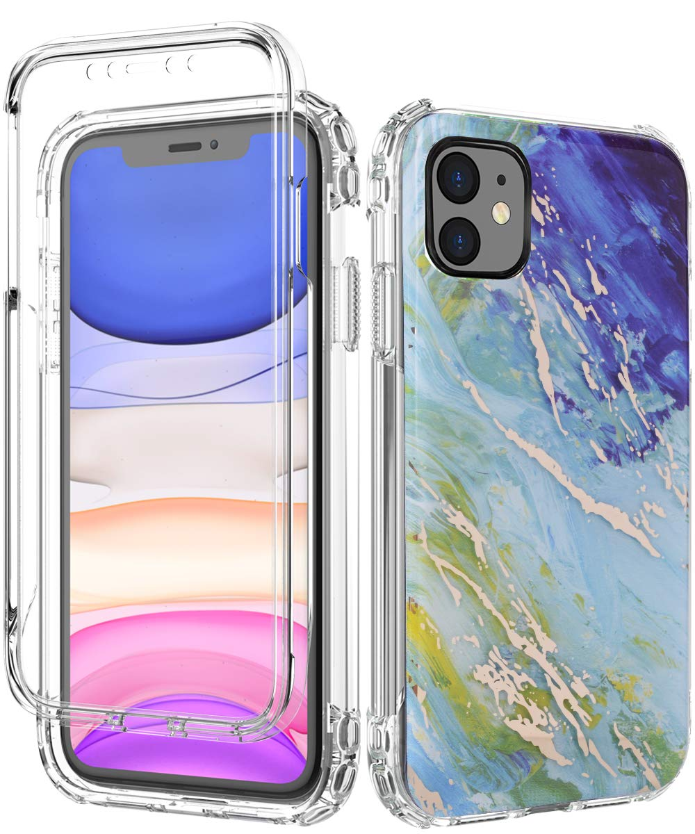 SPEVERT iPhone 11 Case, Marble Pattern Shock Absorption Stylish Case with Built-in Screen Protector Case Compatible for iPhone 11 6.1 inches (Blue Green)