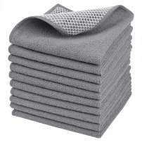 SINLAND Microfiber Dish Cloth Dish Rags for Washing Dishes Best Kitchen Cloths Cleaning Cloths with Poly Scour Side 12Inchx12Inch 10Pack Grey