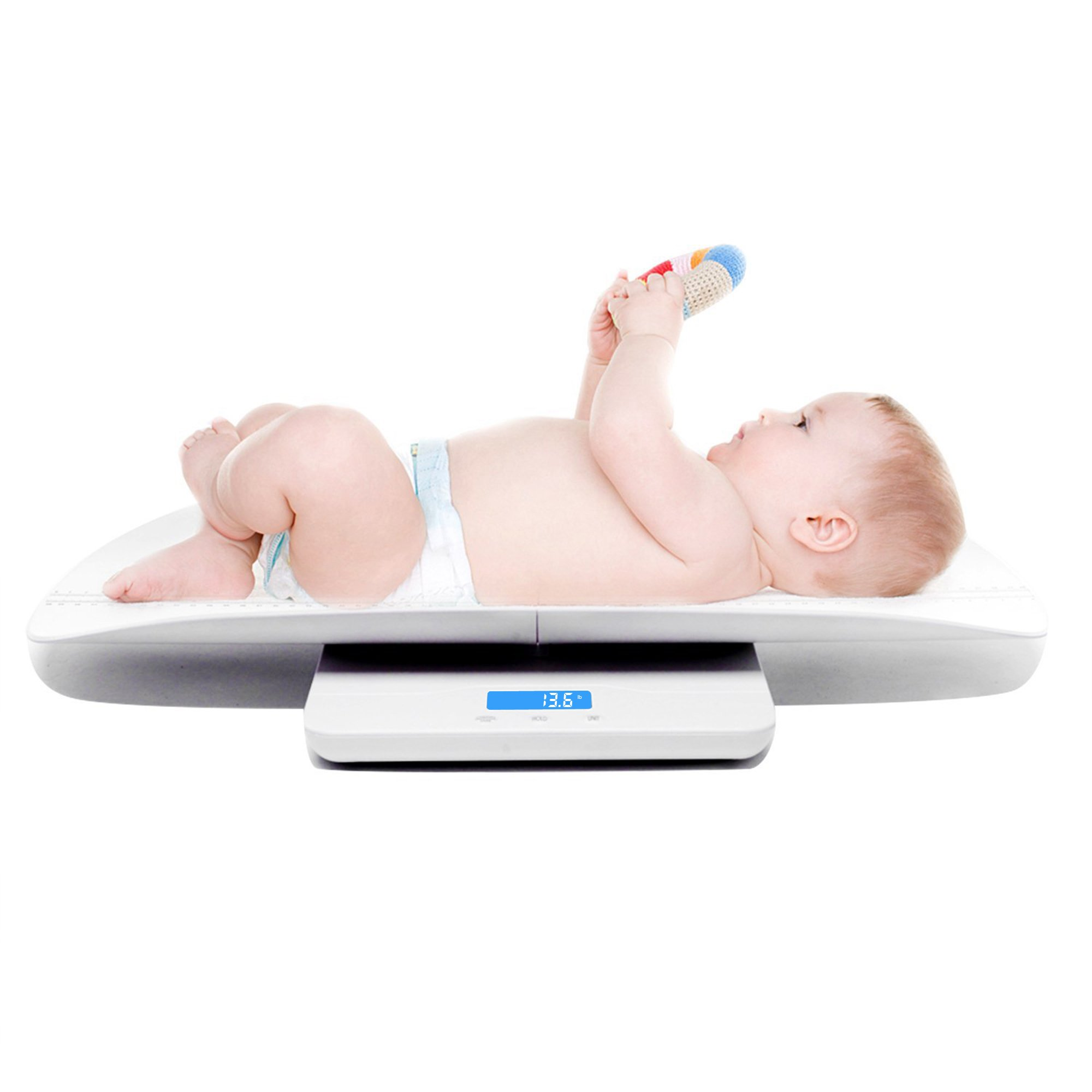 Baby Scale Multi-Function Accurately Digital Baby Infant Toddler Scale with Height Tray Weight(Max:220lbs) and Height(Max:60cm) 2-in-1 Baby to Toddler Scale
