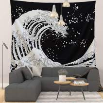"Grace Store Tapestry Wall Tapestry Wall Hanging Tapestries The Great Wave Tapestry Black and White Wall Art Home Decorations for Living Room Bedroom,59"" x 51"""