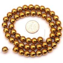 "6mm Round Golden Hematite Gemstone Loose Beads for DIY Jewelry Making 15"""