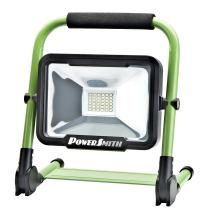 PowerSmith PWLR1120F 1800 Lumen LED 4-Mode Weatherproof Lithium-ion Battery-Powered Cordless Foldable Portable Work Light with 360° Tilt, Metal Stand, Padded Handle, Wall/Car Charger, and USB Port