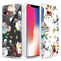Caka Clear Case for iPhone X Xs Floral Glitter Clear Case Flower Pattern Teal Rose Slim Girly Anti Scratch Premium Clarity TPU Crystal Protective Glitter Case for iPhone X Xs (5.8 inch) (Teal White)