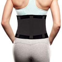 "Back Brace for Women Men - Lower Lumbar Back Support Belt for Pain Relief - Waist Trimmer Belt Body Shaper-Weight lifting Back Stretcher - Adjustable and Breathable Posture Corrector Black M/(25""-33"")"