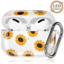 GEAK Compatible with AirPods Pro Case, Stylish Daisy Pattern Hard TPU Protective Case for AirPods Pro 2019, Sunflower