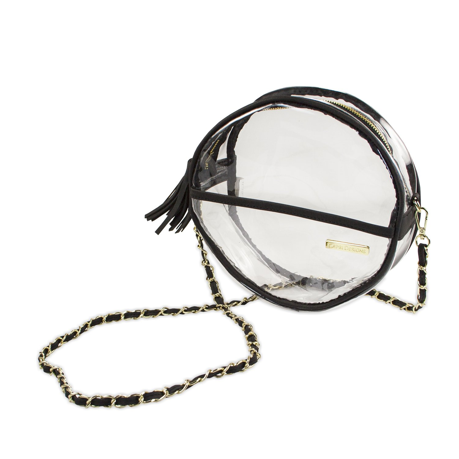 Capri Designs Clear Canteen Crossbody Purse, Round Stadium Approved Bag for Women, Transparent, Travel