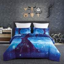 KINBEDY 3D 3PC Tencel Cotton 3D Beautiful Blue Tree Digital Bedding Comforter Sets Twin Size for Teen Kids Comforter Bedding Sets 1 Comforter with 2 Pillowcases.