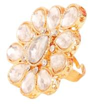 Touchstone New Indian Bollywood Pretty Royal Rajwada Floral Rich Adjustable Size Designer Wedding Jewelry Cocktail Finger Ring in Gold Tone for Women.