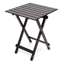 Sunnyfeel Aluminum, Collapsible Camping Table, Compact Lightweight Folding Table, Hard-Topped, Multi-Use for Beach/Lawn/Outdoor/Indoor/Travel/Picnic/Festival/BBQ, Foldable Camp Tables Brown