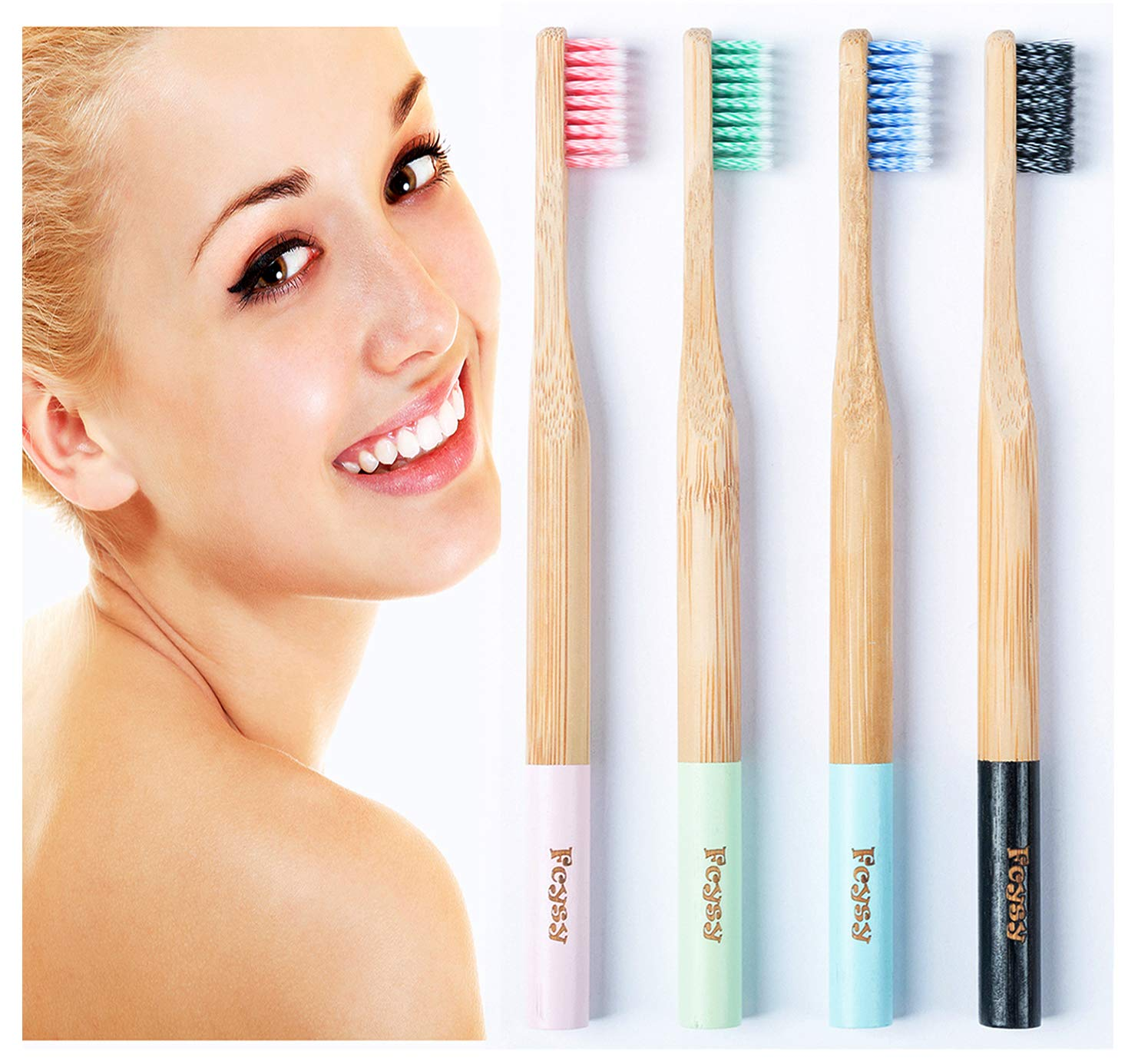 Bamboo Toothbrush Biodegradable Soft Toothbrushes- Fcysy Natural Bamboo Eco Friendly Toothbrush with Soft BPA-Free Germany Imported Spiral Nylon Bristles, Best Recyclable Travel Wood Toothbrush Set