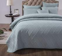 Tache Cotton Solid Seafoam Blue Green Soothing Pastel Soft Matelasse Lightweight Quilted Bedspread Quilt 3 Piece Set, Full