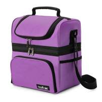 Apollo Walker Lunch Box Insulated Lunch Bag Waterproof Cooler Picnic Tote Bag for Adult Men, Women, Double Deck Cooler Purple