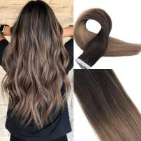 Easyouth Human Hair Tape Extensions 18 Inch 40g 20Pcs per Package Color Dark Brown Fading to Middle Brown Highlight with Ash Blonde Tape Hair Extensions Human Skin Weft Hair