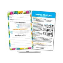 Babysitter Notes & Emergency Contacts Magnet for Refrigerator - Baby & Child CPR Reference Card - Reusable - Emergency Numbers Magnet - Dry Erase Pen Included - 5.25 x 8.5 in.