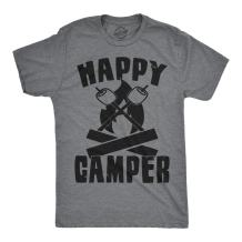 Mens Happy Camper Shirt Funny Camping Cool Hiking Graphic Vintage Tee 80s Saying