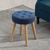 Artechworks Thick Padded Round Footrest Stool Ottoman, Button Tufted Fabric Side Table Seat, Vanity Stool with Wooden Legs for Living Room, Bedroom, Small Space Room, Blue