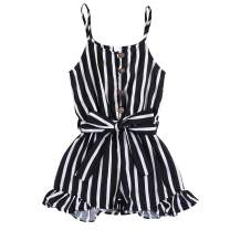 Toddler Kids Girls Sling Romper Baby Striped Jumpsuit Ruffle Strap Halter One-Piece Button Clothes with Waistband