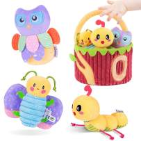 TUMAMA Plush Soft Baby Rattles Toys with Easter Basket for 3 6 9 12 Months, Teethers, Hand Grip and Shake Rattles,Infant Easter Gifts Toys of Butterfly, Owl, Caterpillar
