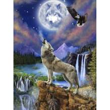"""SKRYUIE 5D Diamond Painting Wolf and Eagle Full Drill Paint with Diamonds Art, Moonlit Wolf DIY Painting by Number Kits Rhinestone Wall Home Decor 30x40cm (12""""x16"""")"""