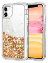 WOLLONY for iPhone 11 Case Glitter Clear Girly Protective Liquid Cover for Women 3 in 1 Heavy Duty Shockproof Luxury Sparkle Bling Shiny Bumper Cute Case Girls Gift for iPhone 11 6.1inch Rose Gold