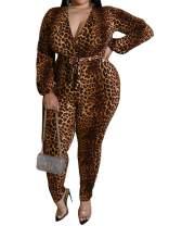 Uni Clau Women Deep V Neck Printed Jumpsuit - Sexy Plus Size One Piece Outfits Long Sleeve Bodycon Leopard Jumpsuits