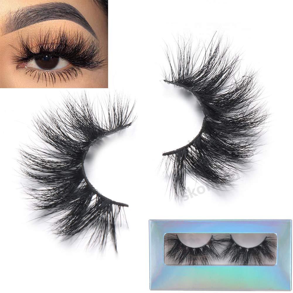 3D Mink Eyelashes Natural Long False Lashes, Luxury Crisscross Fake Eyelashes 100% Mink Fur Eyelashes Handmade Eye Extension Makeup Tools (Y3)