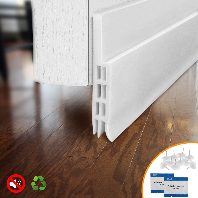 """BAINING Door Draft Stopper Door Sweep for Exterior/Interior Doors, Weatherproofing Door Seal Strip Under Door Draft Blocker Seal, Soundproof Door Bottom Weather Stripping, 2"""" W x 39"""" L, White"""