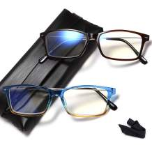 Blue Light Blocking Reading Glasses - Set of 2 Computer Readers Men and Women Lightweight Trendy Frame Choose Your Magnification +1.5