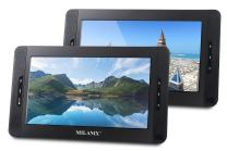 """Milanix 10"""" Portable Dual Screen DVD Player System For Car With Built In 5 Hour Rechargeable Battery, SD/MMC & USB Input (Plays One or Two Different Movie DVDs at The Same Time) MX102 with Card Reader"""