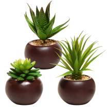 MyGift Potted Artificial Mini Succulent Plants, Set of 3