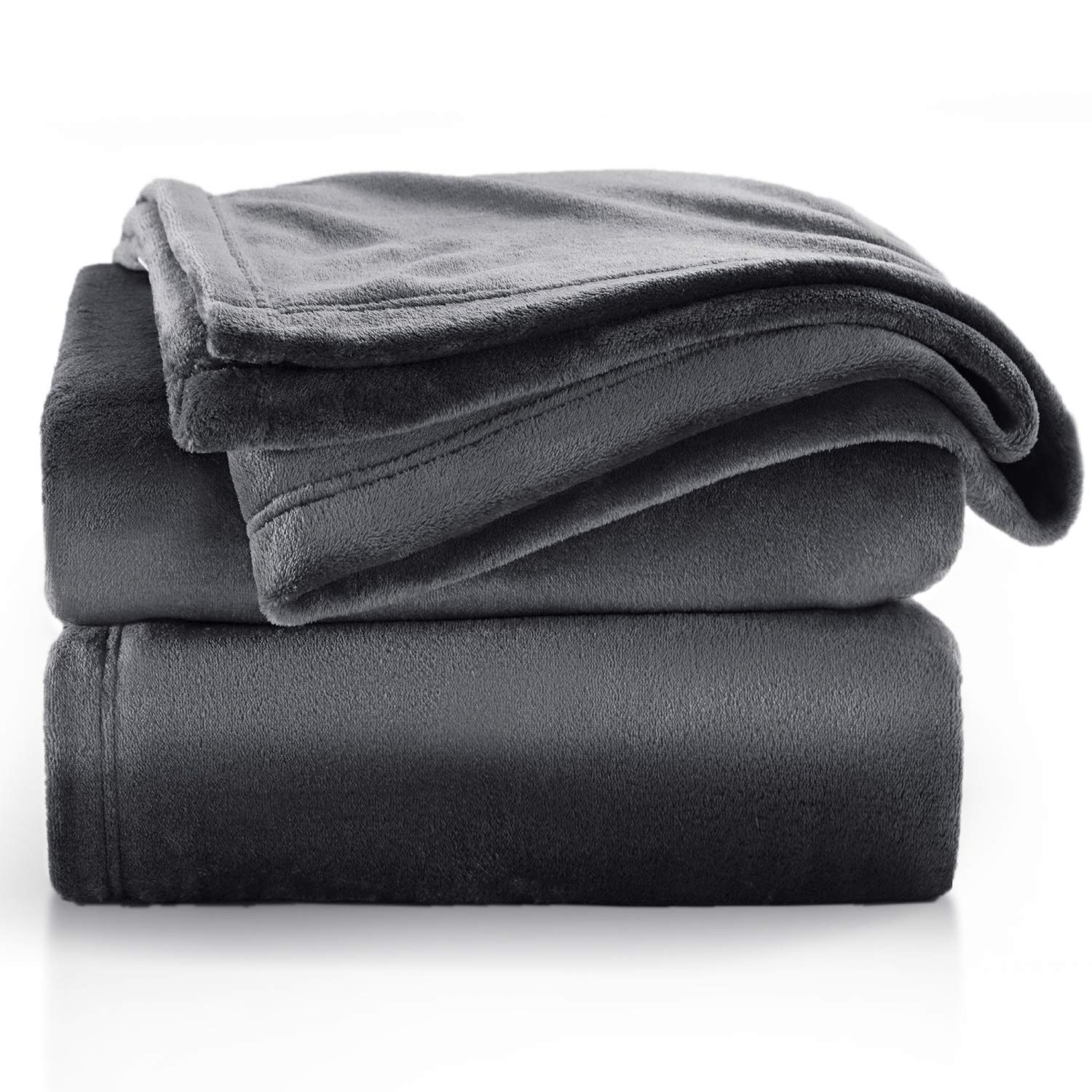 """Bedsure Flannel Fleece Blanket Throw Size (50""""x60""""), Charcoal Grey - Lightweight Blanket for Sofa, Couch, Bed, Camping, Travel - Super Soft Cozy Microfiber Blanket"""