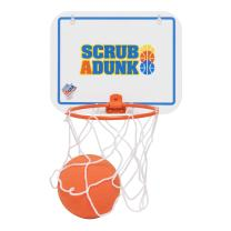The Dunk Collection Scrub a Dunk Baby Bath Toy Basketball Hoop That Makes Bathing Fun & Keeps Kids Happy in The Tub | 2 in 1 Sponge Ball for Shooting and Cleaning, Suction Cups & Sticky Pads Included