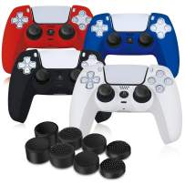 PS5 Controller Grip Skin Cover(4 Pack), SIKEMAY Silicone Cover Skin Case for Playstaion 5 Dualsense Controller, Durable Rubber Protective Gamepad Case with 8 Thumb Grip Caps (Black, White, Blue, Red)