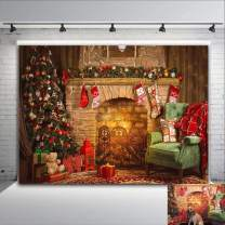 Christmas Bear Trees Photo Background Home Selfie Decorations Xmas Stocking Fireplace 7x5ft Photography Backdrop Kids Baby Shower Supplies Vinyl Photo Booth Studio Props Supplies Banner