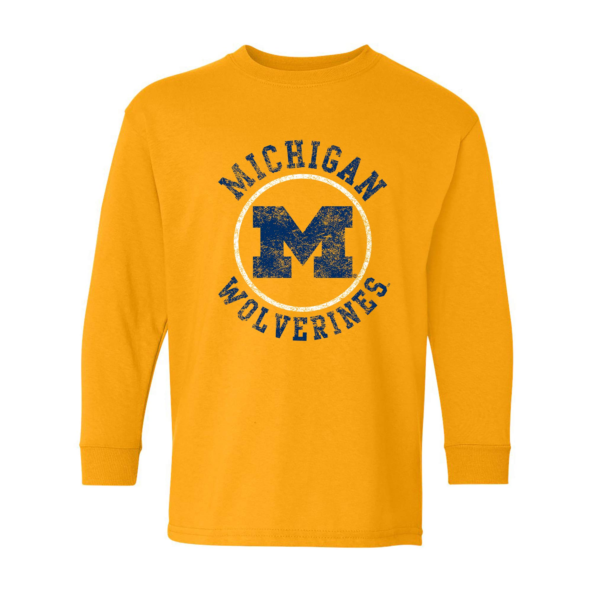 NCAA Distressed Circle Logo, Team Color Youth Long Sleeve
