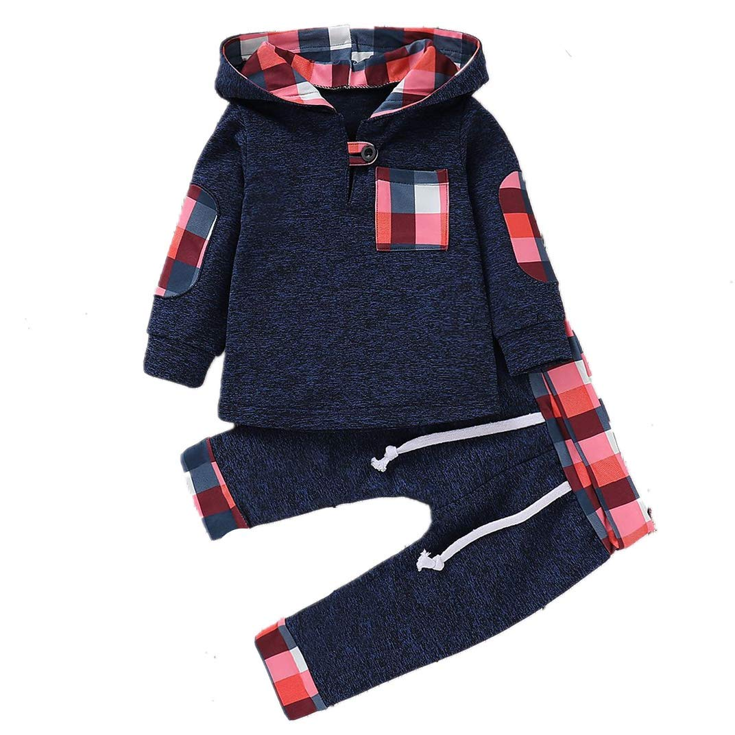 Baby Boys 2Pcs Outfit Clothes Sets Toddler Kids Hooded Tops Sweatshirt Long Pants Spring Autumn Casual Clothing Set