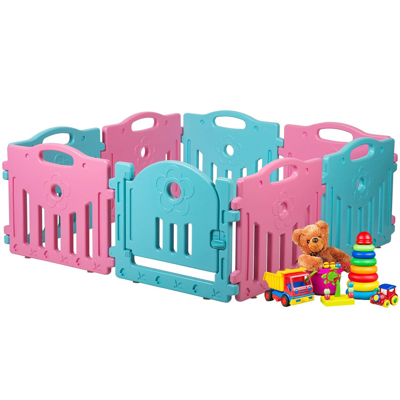 Baby Playpen Kids 8 Panel Safety Play Center Yard Home Indoor Outdoor Pen