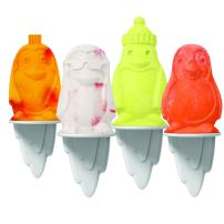 Tovolo Ice Pop, Flexible Silicone Freezer Molds Set of 4 Unique Penguins, Popsicle Makers With Reusable Sticks, Dishwasher-Safe & BPA-Free, White