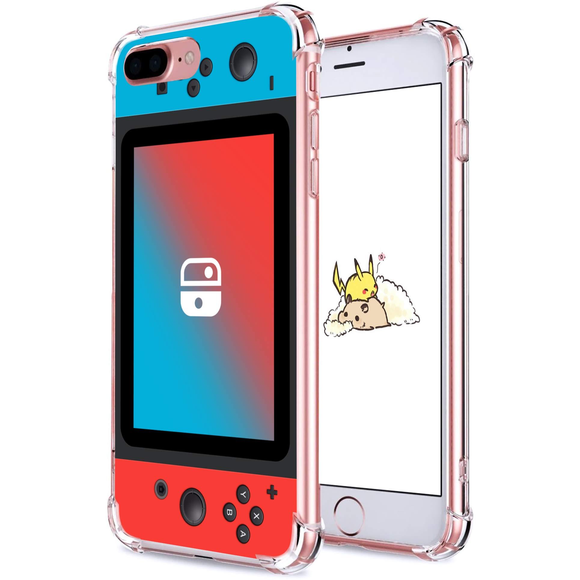 "Coralogo for iPhone 7 Plus/ 8 Plus TPU Case, Cute Funny Cartoon Design Slim Ultra Clear Protective Fashion Fun Cool Soft Cover Skin Teens Kids Girls Cases for iPhone 8 Plus/7 Plus 5.5"" (Blue Red Games"