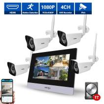 Wireless Security Camera System (4Pcs), UNIOJO 2.0MP 1080P Waterproof IP66 Indoor Outdoor Home Surveillance IP Camera CCTV NVR Recorder(1T Hard Drive), Night Vision, Motion Detection