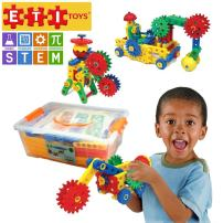 ETI Toys   STEM Learning   109 Piece Educational Engineering Construction Blocks & Gears Building Set; Build Excavator, Horse & Buggy and More. Best Gift, Toy for 4, 5, 6, 7 Year Old Boys and Girls.