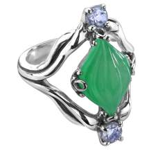 Carolyn Pollack Sterling Silver Jade Gemstone Carved Ring Size 05 to 10 - Choice of Gemstone