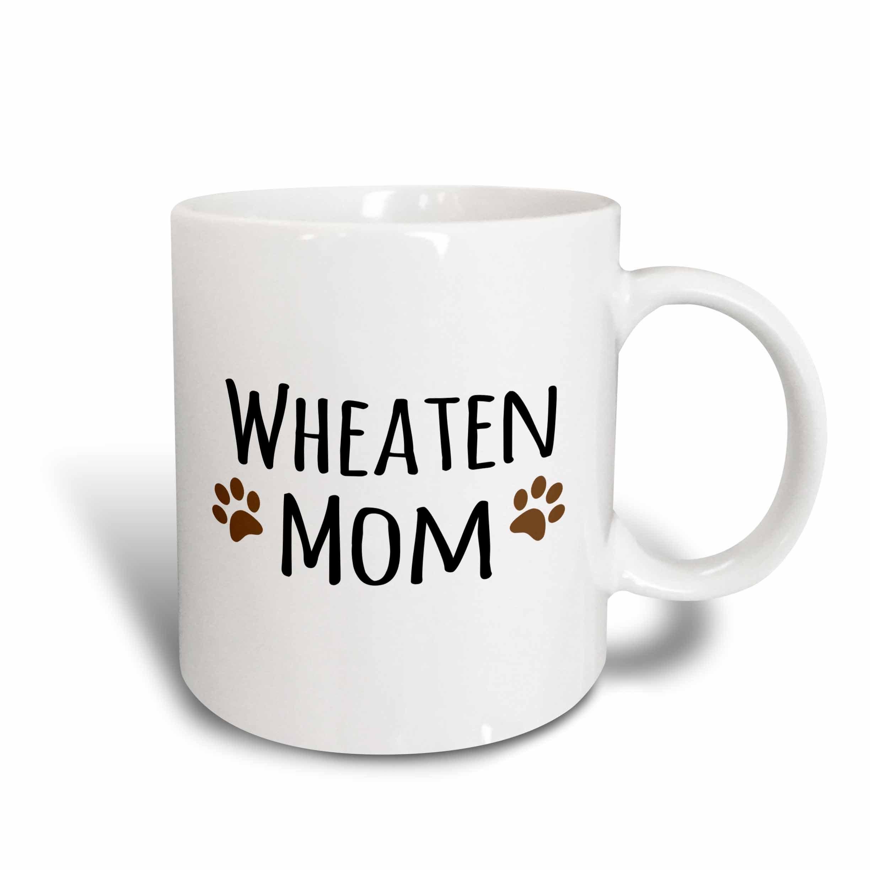 3dRose mug_154216_2 Wheaten Dog Mom Soft Coated Wheaten Terrier Doggie By Breed Doggy Mama Owner Brown Paw Prints Ceramic Mug, 15-Ounce