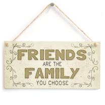 """Meijiafei Friends are The Family You Choose - Beautiful Home Accessory Gift Sign 10""""x5"""""""