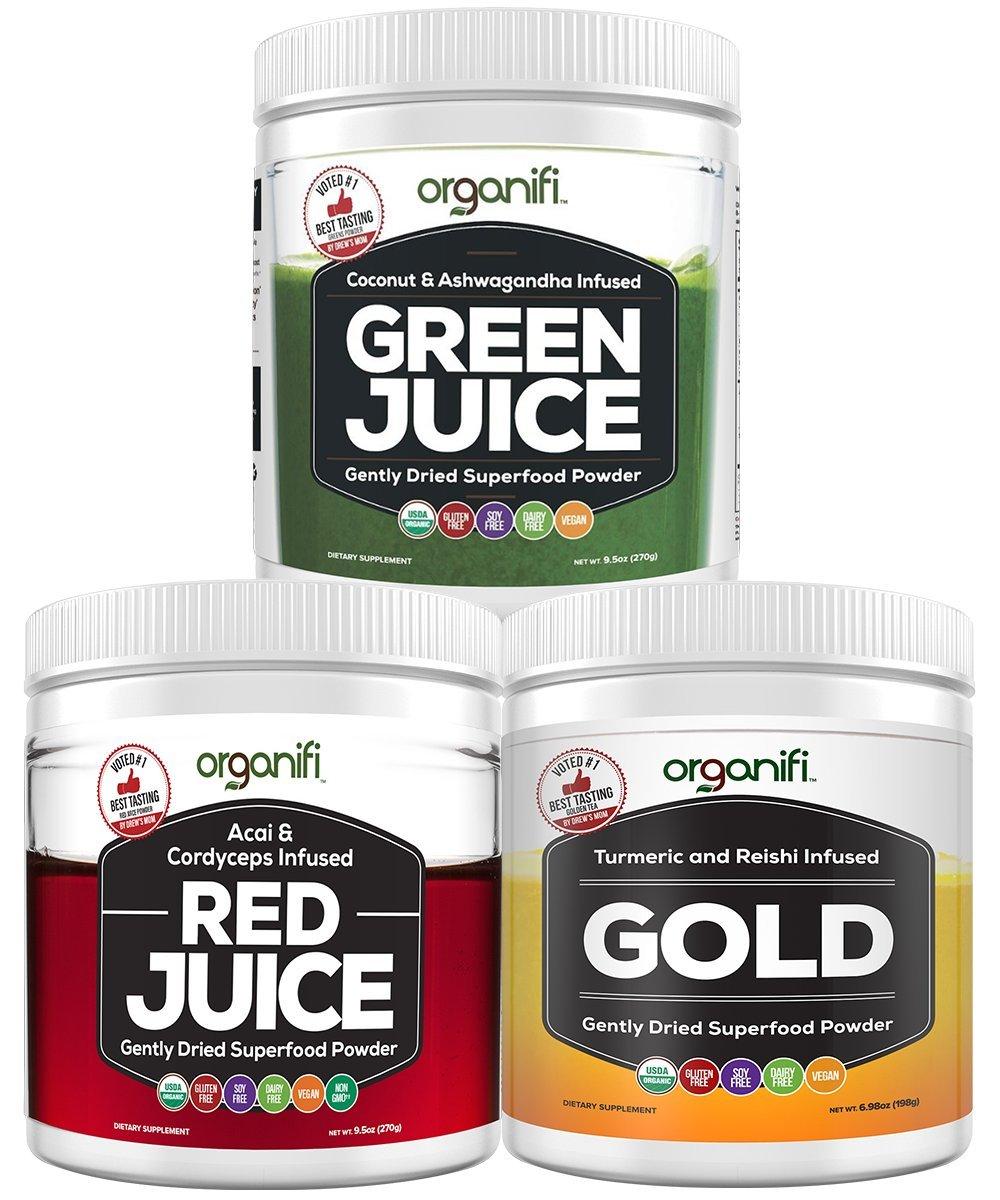 Organifi: Sunrise to Sunset Power Box (9.5 Oz. Each) - Superfood Powder - Green Juice, Red Juice, Golden Milk- 30-Day Supply - Organic - Vegan - Immunity Support - Boosts Metabolism, Energy, and Sleep