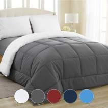 Equinox All-Season Charcoal Grey/White Quilted Comforter - Goose Down Alternative - Reversible Duvet Insert Set - Machine Washable - Plush Microfiber Fill (350 GSM) (Queen 88 x 88 Inches)