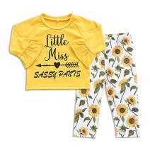 Toddler Baby Girls Sunflower Print Ruffle Tops Pants Little Miss Clothes Set Outfit